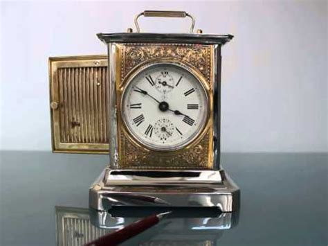 junghans museumpiece musical alarm carriage antique clock tin brass