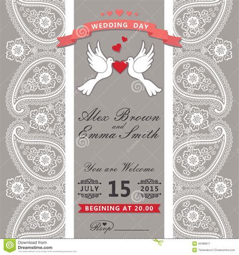 Cute Wedding Invitation Paisley Border Lace Cartoon Pigeons Vint Stock Vector Image 40489617 Paisley Wedding Invitation Template