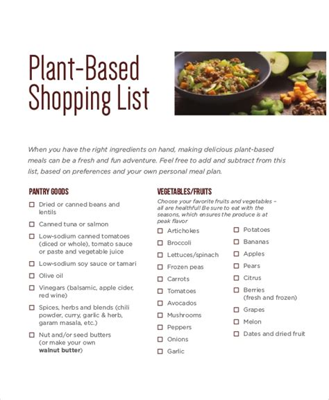 shopping list sample  examples  word