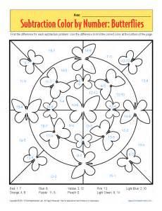 color subtraction subtraction color by number butterflies kindergarten