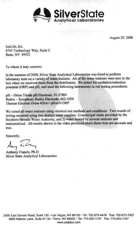 Letter Patient Normal Lab Results Silverstate Independent Laboratory Study Of Athena Water Ionizers