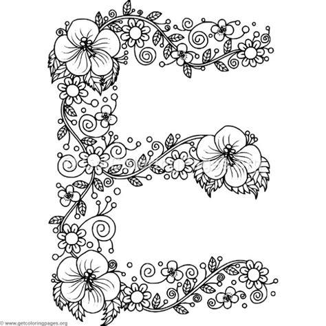 E Coloring Pages by Floral Alphabet Letter E Coloring Pages Getcoloringpages Org