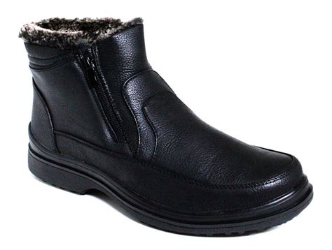 mens winter slip on boots s winter snow boots shoes faux fur slip on zip up warm
