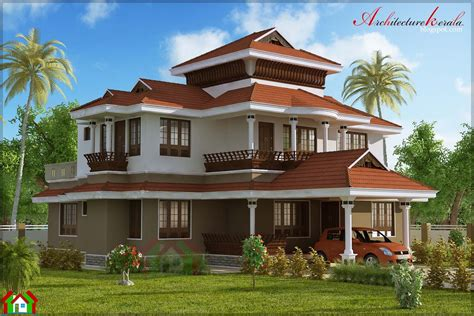 style home 4 bed room traditional style house architecture kerala
