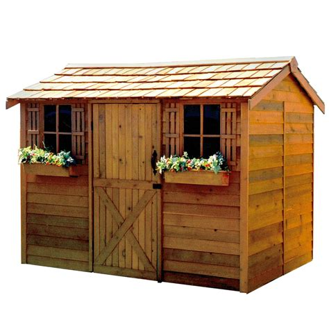 shed designer lowes shop cedarshed cabana gable cedar storage shed common 9
