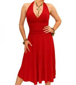 red halter neck dress