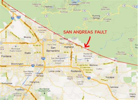 san andreas fault line map map of san andreas fault in southern california california map