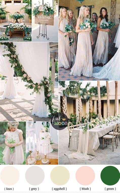colour themes with white green and neutral wedding colour palette with blush accents