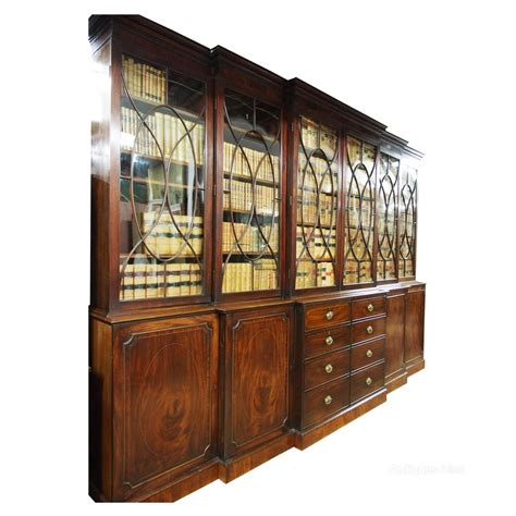 Breakfront Cabinet by George Iii Mahogany Breakfront Cabinet Bookcase Antiques