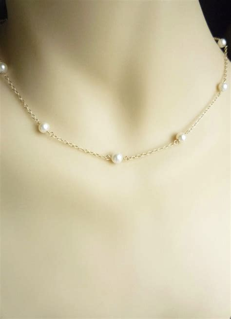 pearls with gold gold pearl necklace with 14k gold filled chain pearl