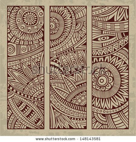 vintage ethnic pattern abstract vector hand drawn vintage ethnic pattern card set