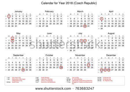calendar year 2018 public holidays bank stock illustration