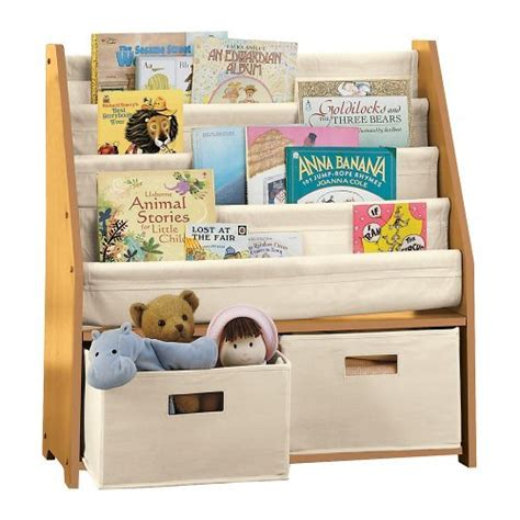 sling bookshelf with storage bins espresso