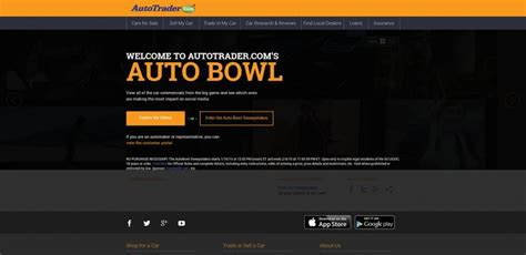 Daily Entry Sweepstakes - autotrader com s autobowl sweepstakes watch vote win