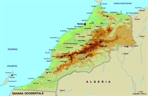 physical map of morocco morocco physical map mappery