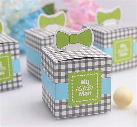 Giveaways For First Birthday Boy - 50 pcs bowknot quot my little man quot wedding favors candy boxes baby boy first birthday