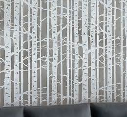 allover stencil birch forest by cutting edge stencils reusable wall stencils