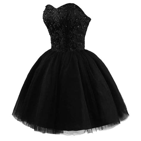 hot selling short prom dress black short puffy ball