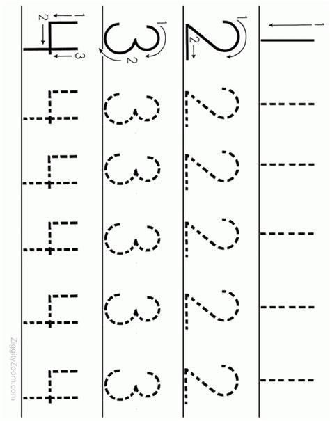 printable numbers sheets number tracing worksheet 1 to 4 ziggity zoom