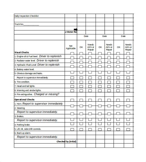 Excel Checklist Template Free by Daily Checklist Template 26 Free Word Excel Pdf