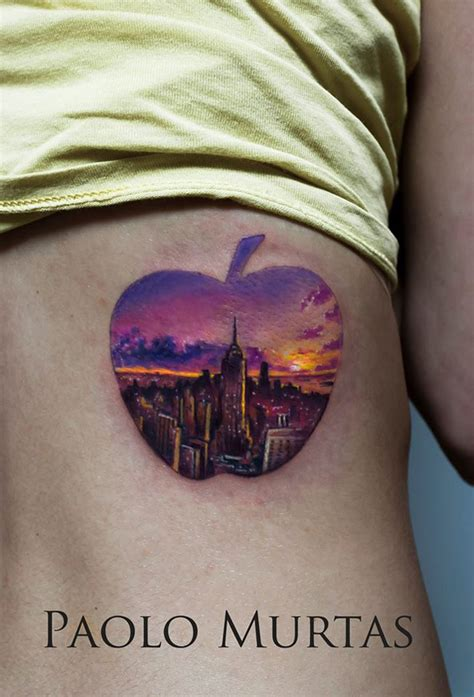 new school tattoo nyc new york apple tattoo best tattoo design ideas