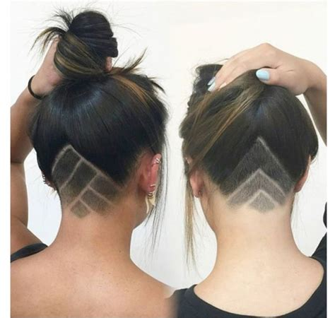 triangle with slight graduation with shaved head undercut women back of head triangle