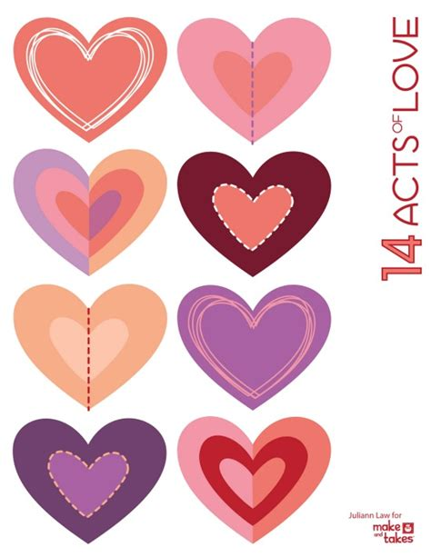 printable hearts for valentines day valentines 14 acts of printable make and takes