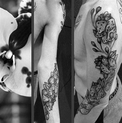 orchid tattoo black and grey 70 orchid tattoos for men timeless flower design ideas