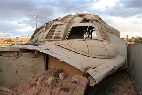 Amazing Backyard Pitch Black Wrecked Spaceship Prop In Coober Pedy Urban