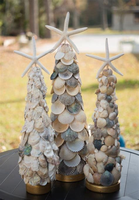elegant seashell christmas tree with oysters shells