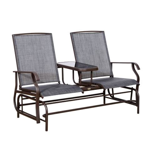Outdoor Material For Patio Furniture Outsunny 2 Person Outdoor Mesh Fabric Patio Glider Chair W Center Table Walmart