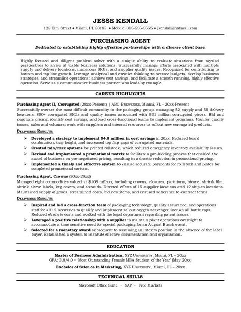 Example Purchasing Agent Resume   Free Sample