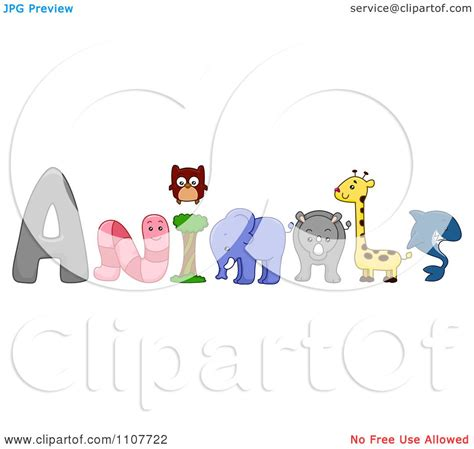 clipart word clipart the word animals with a worm owl elephant rhino