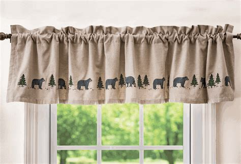 bears curtains black bear embroidered valance