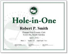 hole in one award certificate only 18 00 certificates
