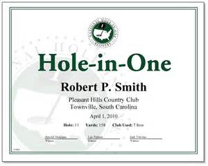 Hole in one golf certificates templates
