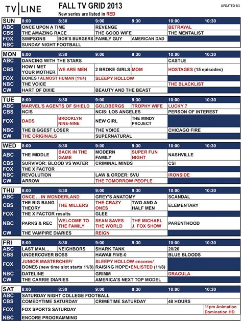 s day tv schedule fall tv schedule 2013 network grid what s on when and