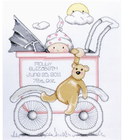 Cross Stitch Baby Birth Record Tobin Baby Buggy Birth Record Counted Cross Stitch Kit Jo