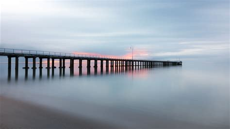 wallpaper pier ocean sky  nature