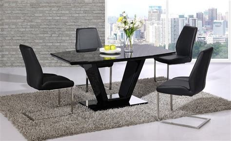 Black Gloss Dining Table And 6 Chairs Black Glass High Gloss Dining Table Set And 6 Chairs Homegenies
