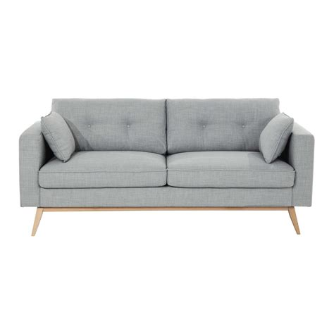 3 seater fabric sofa in light grey brooke maisons du monde
