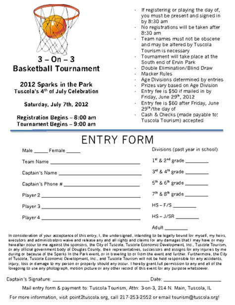 2012 3 On 3 Basketball Registration Form By Carly Mccrory