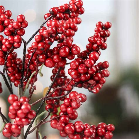 red artificial berry spray picks and stems floral