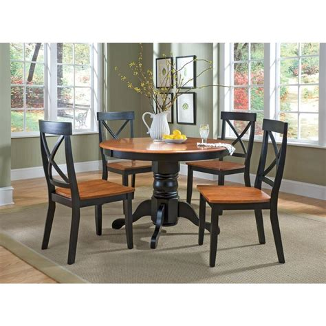 shino black 5 piece dining room furniture set free home styles 5 piece black and oak dining set 5168 318