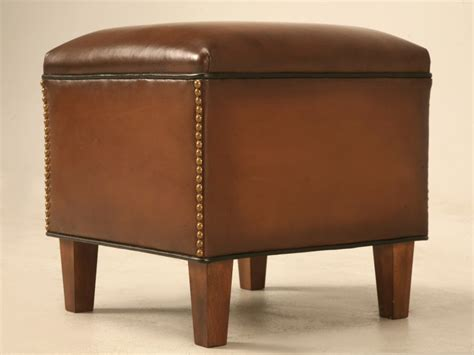 Custom Leather Ottoman Custom Leather Ottoman To Match Club Chair For Sale Plank