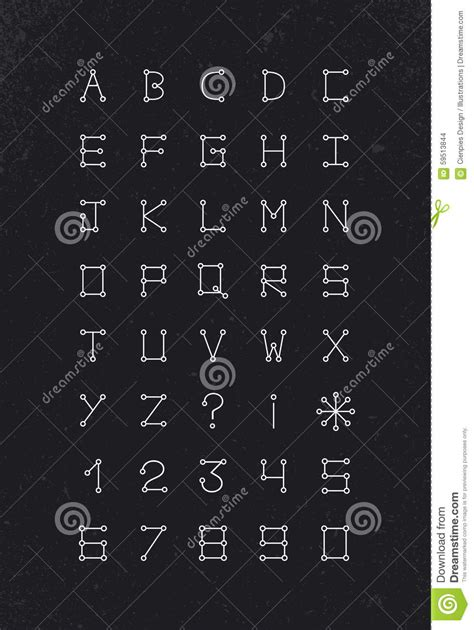 geometric pattern font alphabet font geometric set modern simple line stock