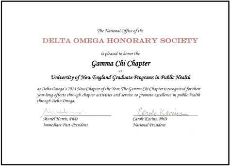 national honor society certificate template delta omega honorary society in health une