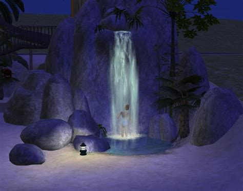 Waterfall Shower by Mod The Sims Waterfall Shower And Tons Of Rocks D