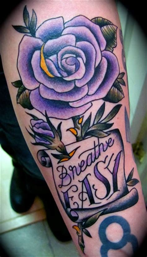 what goes with rose tattoos 33 awesome purple tattoos images pictures and ideas