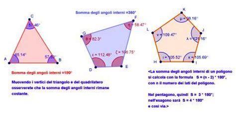 somma angoli interni di un quadrilatero somma degli angoli interni di un poligono con applet